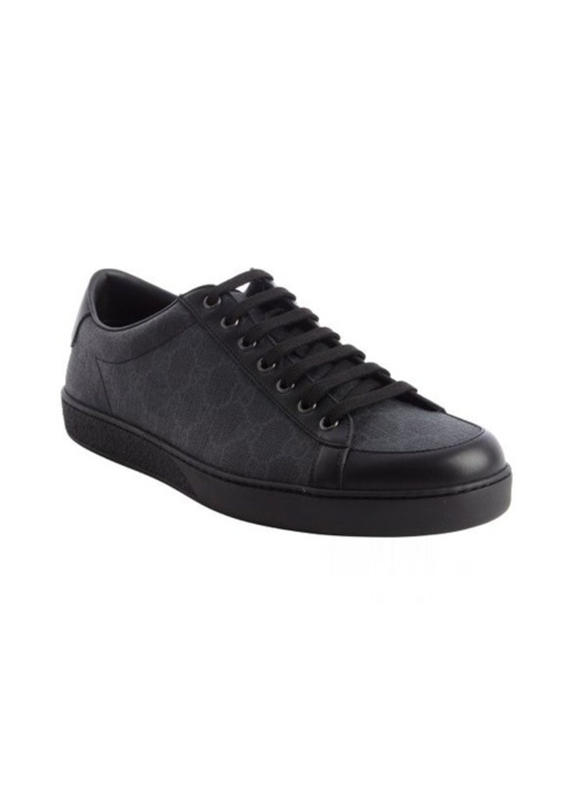 gucci gucci black gg coated canvas lace up sneakers