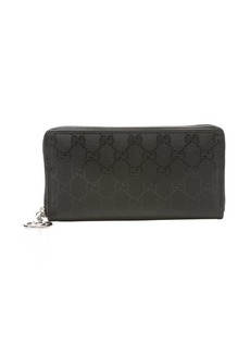 Gucci black gg crystal canvas zip continental wallet
