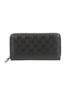 Gucci black GG imprimé leather continental zip wallet