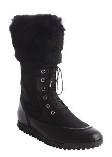 Gucci black GG nylon rabbit fur trim lace-up boots