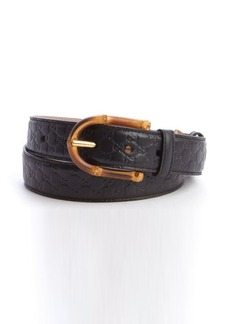 Gucci black guccissima embossed leather bamboo buckle belt
