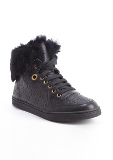 Gucci black guccissima leather 'Coda' rabbit fur trimmed high top sneakers
