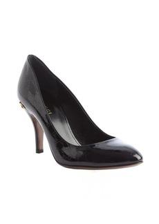Gucci black guccissima patent leather horsebit heel pumps