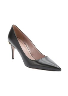 Gucci black leather 'Adina' horsebit detail pumps