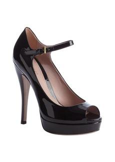 Gucci black leather ankle strap peep toe platform pumps