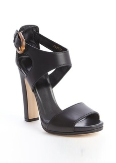 Gucci black leather bamboo buckle heel sandals