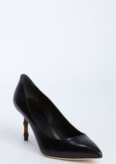 Gucci black leather bamboo detail pumps