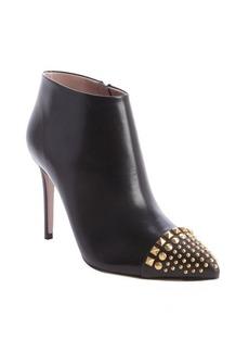 Gucci black leather brass studding heel booties