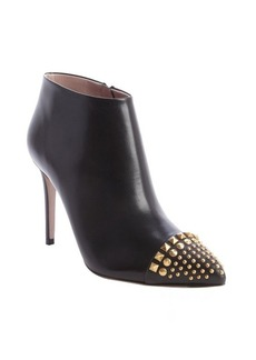 Gucci black leather brass studding heel booties