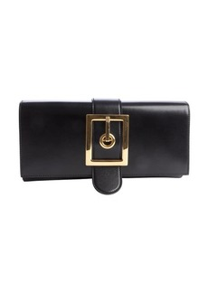 Gucci black leather buckle clutch
