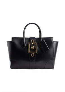 Gucci black leather buckle front tote