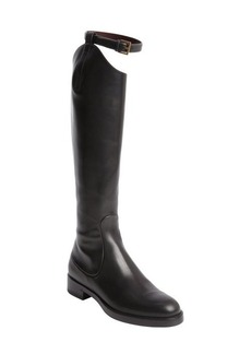 Gucci black leather bucklestrap back zip boots