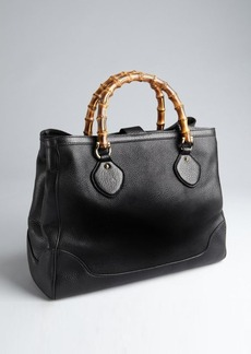 Gucci black leather 'Diana' bamboo handle tote