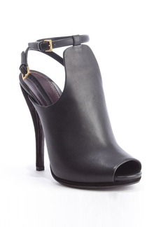 Gucci black leather double buckle peep toe pumps