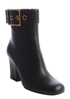 Gucci black leather gold buckle strap stacked heel boots