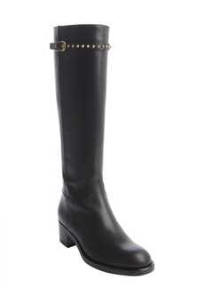 Gucci black leather gold studded buckle strap knee high boots