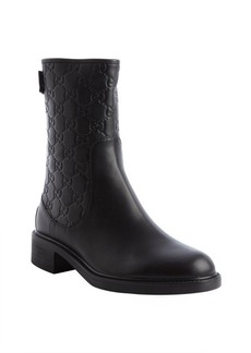 Gucci black leather guccissima back zip ankle boots