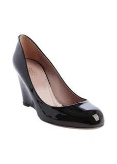 Gucci black leather guccissima wedge pump