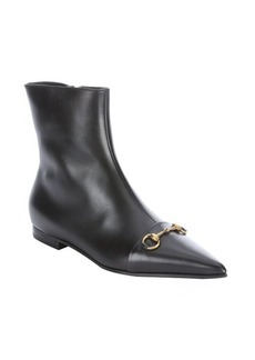 Gucci black leather horsebit ankle boots
