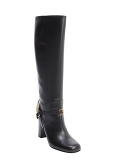Gucci black leather horsebit buckle detail tall boots