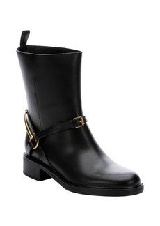 Gucci black leather horsebit detail ankle riding boots
