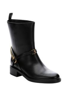 Gucci black leather horsebit detail ankle riding boots