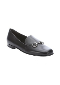 Gucci black leather horsebit detail loafers