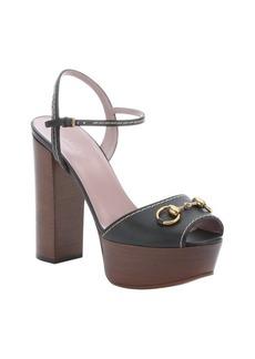 Gucci black leather horsebit detail platform sandals