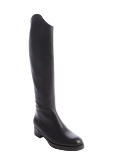 Gucci black leather horsebit heel side zip boots