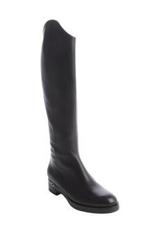 Gucci black leather horsebit heel side zip boots