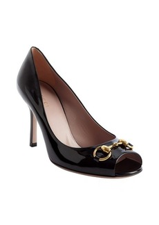 Gucci black leather horsebit peep toe pumps