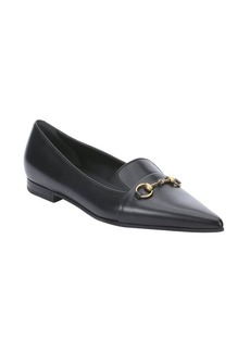 Gucci black leather horsebit pointed loafers