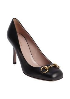 Gucci black leather 'Jolene' horsebit accent pumps