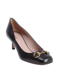 Gucci black leather 'Jolene' horsebit detail kitten pumps