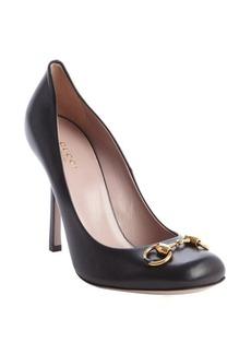 Gucci black leather 'Jolene' horsebit pumps