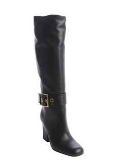 Gucci black leather 'Kesha' buckle detail tall boots