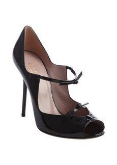 Gucci black leather knot strap peep toe pumps