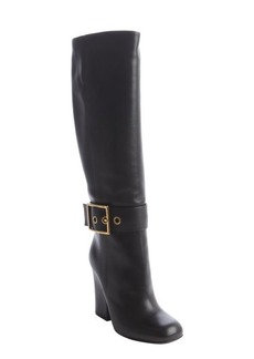 Gucci black leather large buckle heel boots