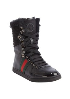 Gucci black leather logo striped rabbit fur trimmed hi-top sneakers