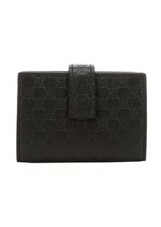 Gucci black leather microguccisima card case