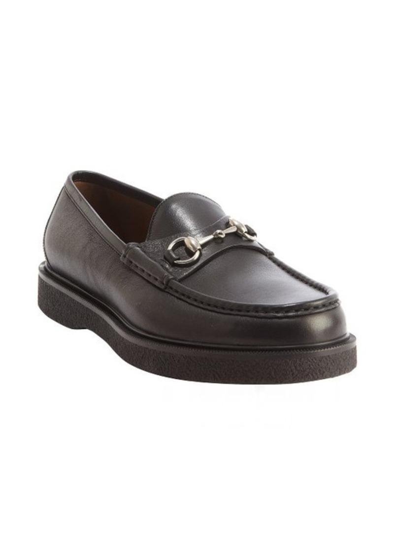 gucci gucci black leather moc toe horsebit loafers shoes shop it to me. Black Bedroom Furniture Sets. Home Design Ideas