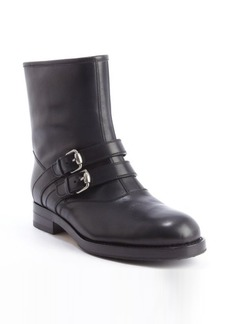 Gucci black leather monk strap wool lined boots