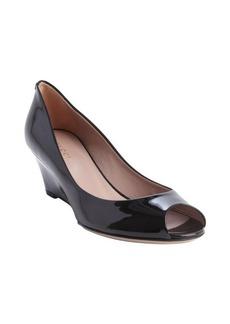 Gucci black leather peep toe wedge heel pumps