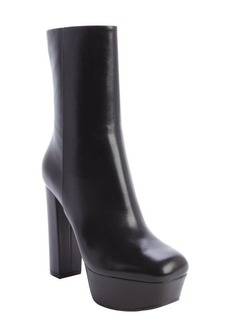 Gucci black leather platform ankle boots