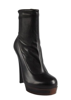 Gucci black leather stacked platform side zip ankle boots
