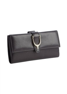 Gucci black leather stirrup detail wallet
