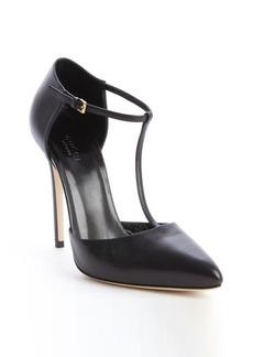 Gucci black leather strappy pumps