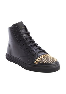 Gucci black leather studded detail lace up sneakers