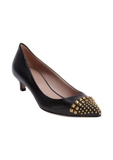 Gucci black leather studded detail pointed toe pumps