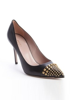 Gucci black leather studded detail pumps
